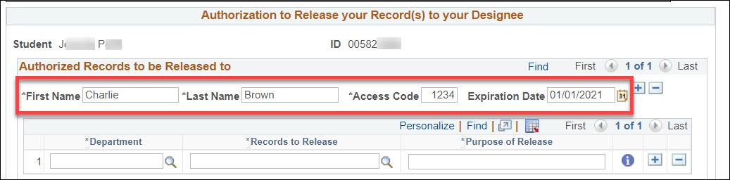 The Authorized Records to be Released to section of the Authorize to Release page. A first name of Charlie, last name of Brown, access code of 1234, and expiration date of 01/01/2021 are filled in within form fields and highlighted in a red box.