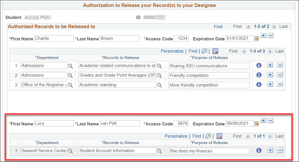 The Authorized Records to be Release to section with a blank set of first name, last name, access code, expiration date, department, records to release, and purpose of release fields blank below the existing section for designee Charlie Brown.
