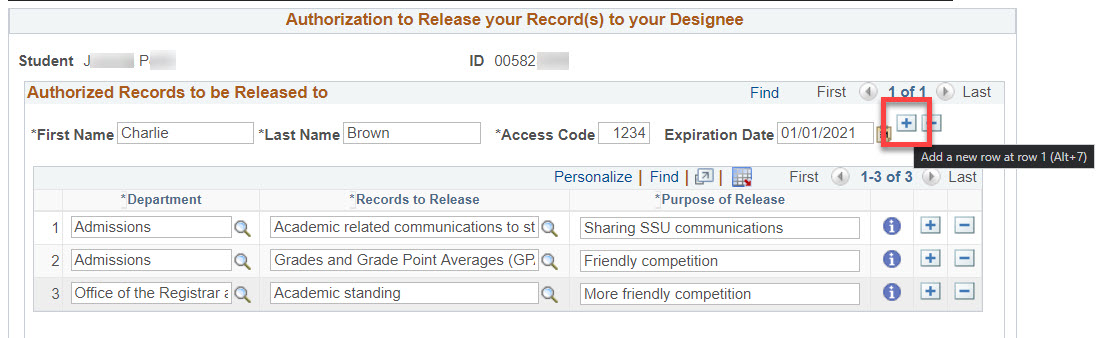 The Authorized Records to be Released to section. A row with first name Charlie and last name Brown has a red box highlighting the plus button after the expiration date field.