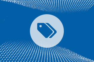 icon of tags against blue textured background
