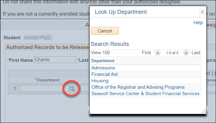A Look Up Department pop-up window with the Authorized Records to Be Released page grayed out behind it. The magnifying glass icon after the Department field is circled in red.