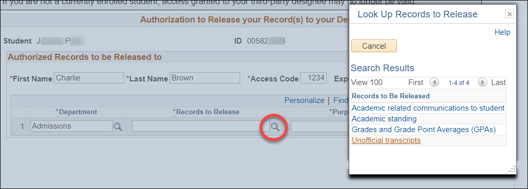 A Look Up Records to Release pop-up window with the Authorized Records to Be Released page grayed out behind it. The magnifying glass icon after the Records to Release field is circled in red.