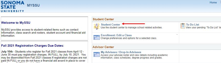 Red arrow pointing at Student Center link on MySSU homepage