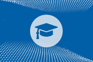 grad cap against textured blue background